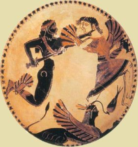 The sons of Boreas, Kalais and Zetes, are hunting the Harpies. Laconian cylix 550 BC. Villa Gulia